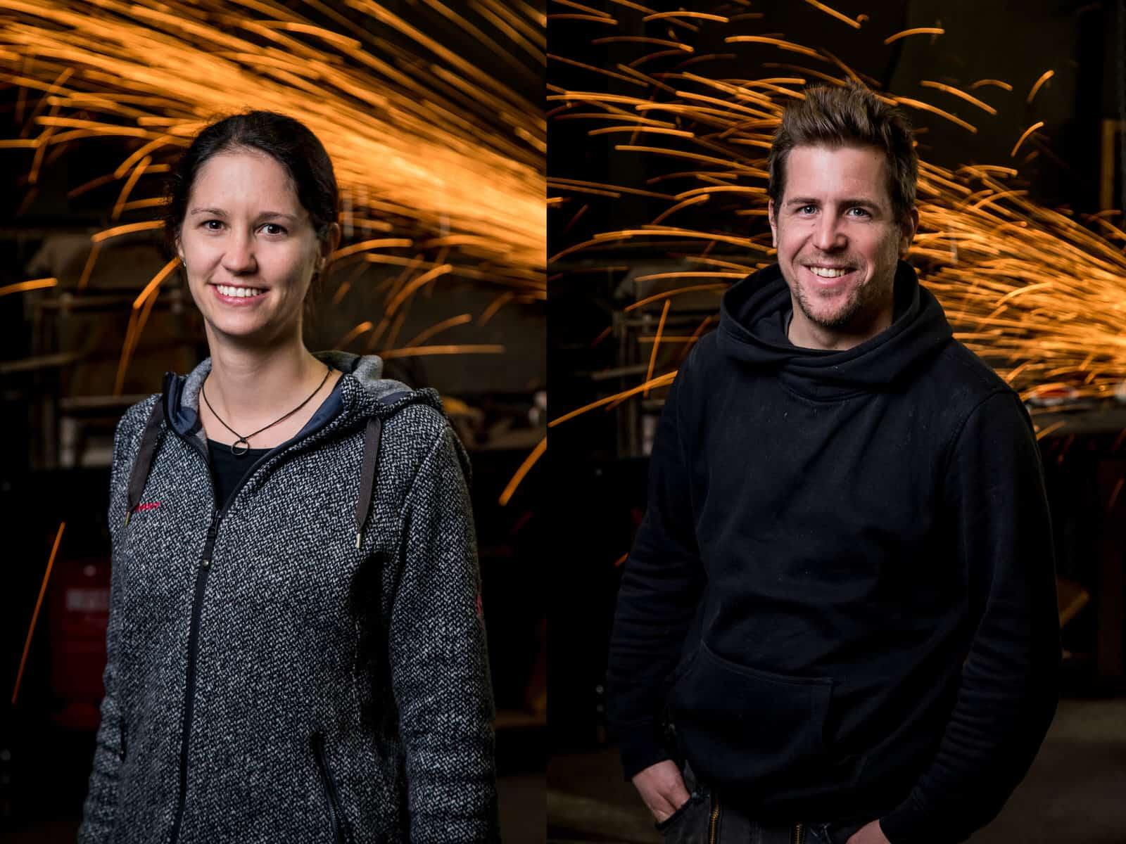 Schmied-Portraits vor Funkenregen