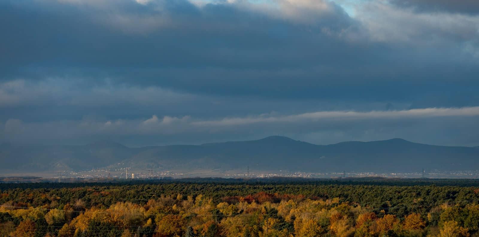 Blick auf den Pfälzer Wald von Speyer aus