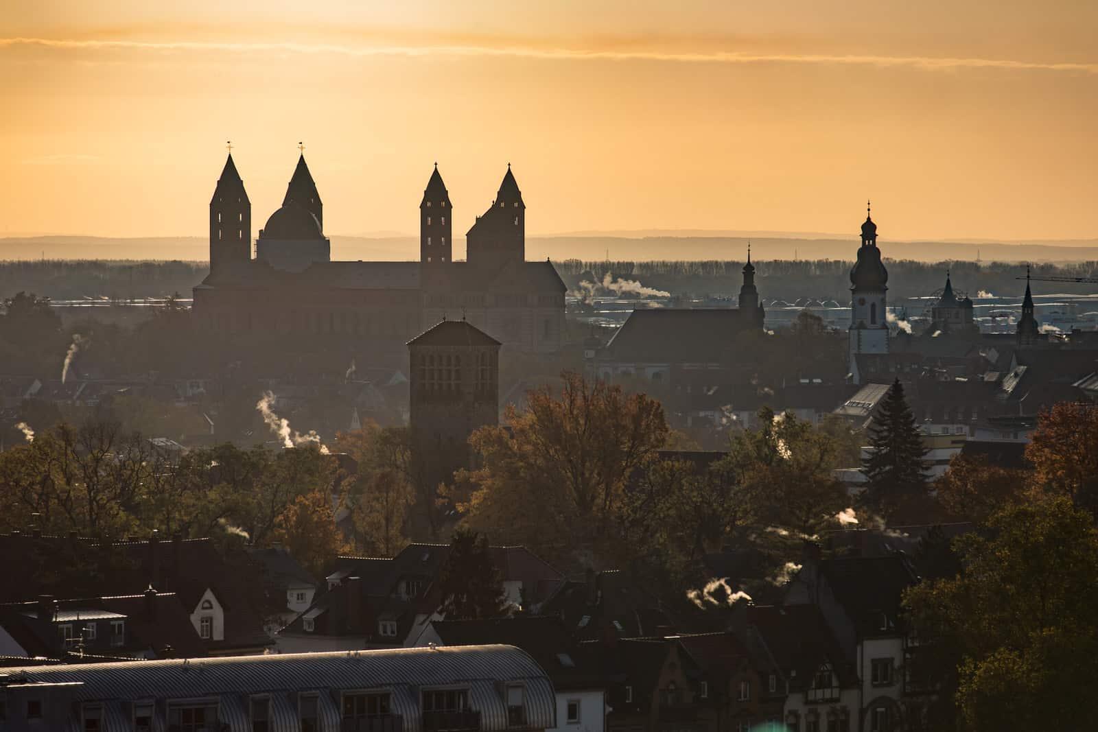 Blick auf den Speyerer Dom im morgendlichen Gegenlicht